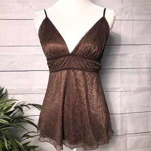 Ideology Brown Lace Overlay Cami - S